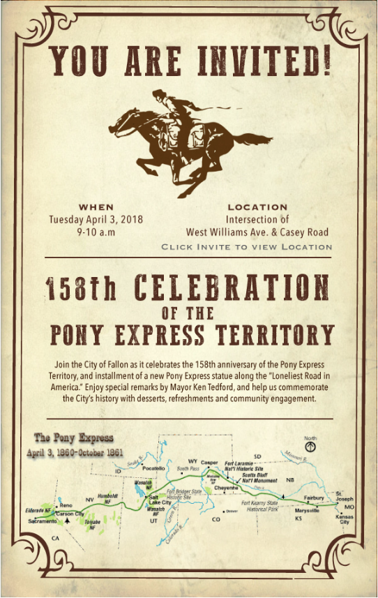 158th Celebration of the Pony Express Territory @ Fallon | Nevada | United States